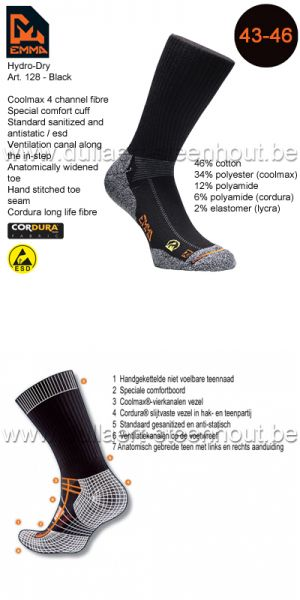 Emma - CHAUSSETTES HYDRO-DRY WORKING 128 / NOIR / 43-46