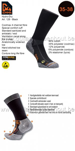 Emma - CHAUSSETTES HYDRO-DRY WORKING 128 / NOIR / 35-38