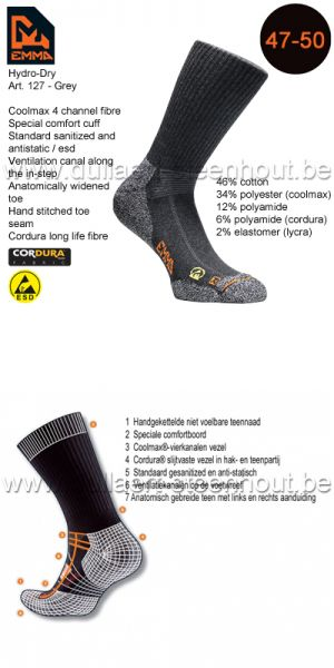 Emma - CHAUSSETTES HYDRO-DRY WORKING 127 / GRIS / 47-50