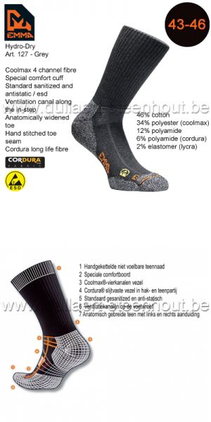 Emma - CHAUSSETTES HYDRO-DRY WORKING 127 / GRIS / 43-46