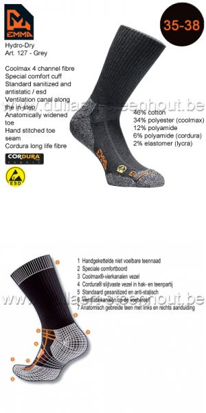 Emma - CHAUSSETTES HYDRO-DRY WORKING 127 / GRIS / 35-38