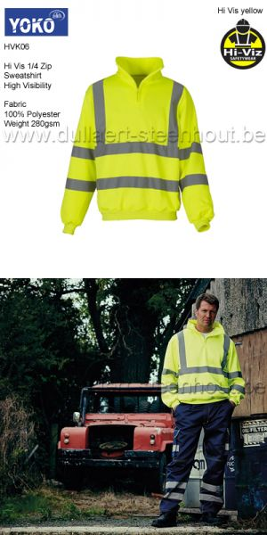 Yoko HVK06 - Fluo 1/4 Zip Sweat Shirt - Jaune fluo