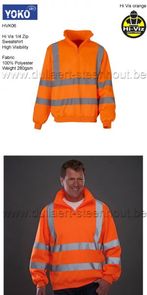 Yoko HVK06 - Fluo 1/4 Zip Sweat Shirt - orange fluo