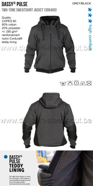 DASSY® Pulse (300400) Veste sweat-shirt bicolore - gris/noir