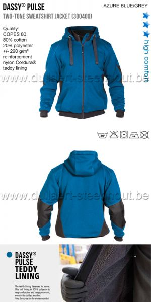 DASSY® Pulse (300400) Veste sweat-shirt bicolore - bleu/grijs