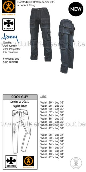 Best Worker jeans - FULL-STRETCH Jean professionnel avec poches genoux