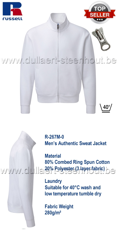 Russell - Men's Authentic Sweat Jacket - blanc